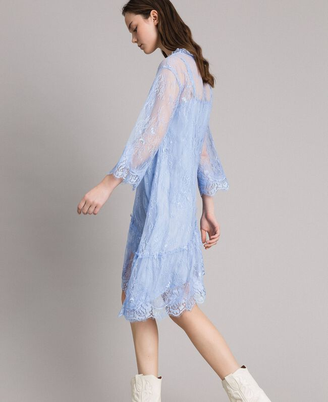 Asymmetric Chantilly lace dress Light blue Atmosphere Woman 191ST2120-06