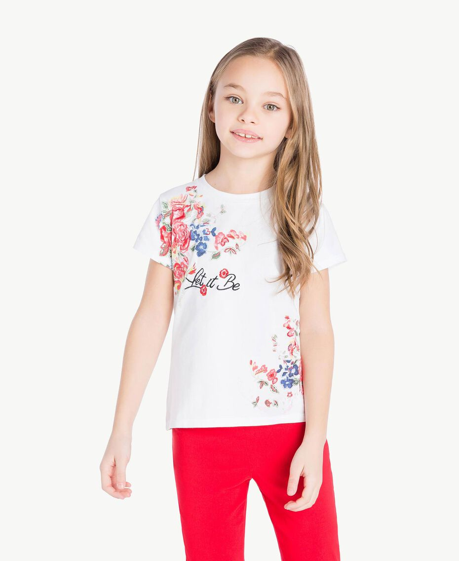 "T-Shirt mit Print ""Papers""-Weiß Kind GS82SP-02"