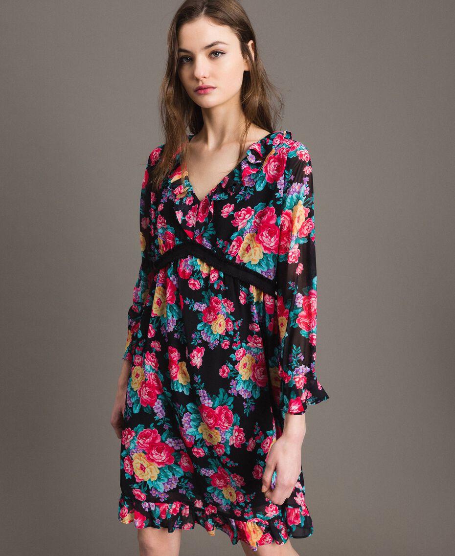 Georgette-Kleid mit Blumenmuster Motiv Schwarze Blumen Frau 191MP2331-01