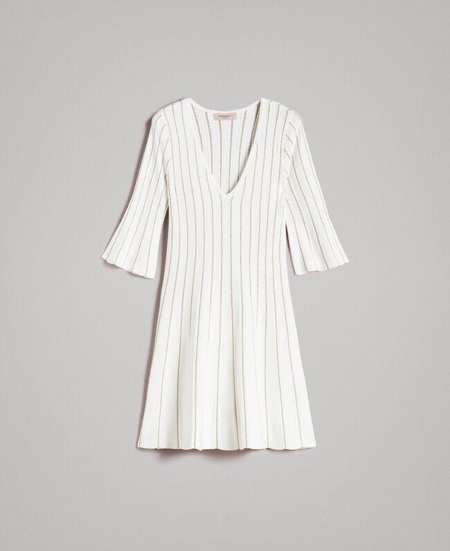 Knit dress with lurex stripes White Snow Woman 191TP3250-0S