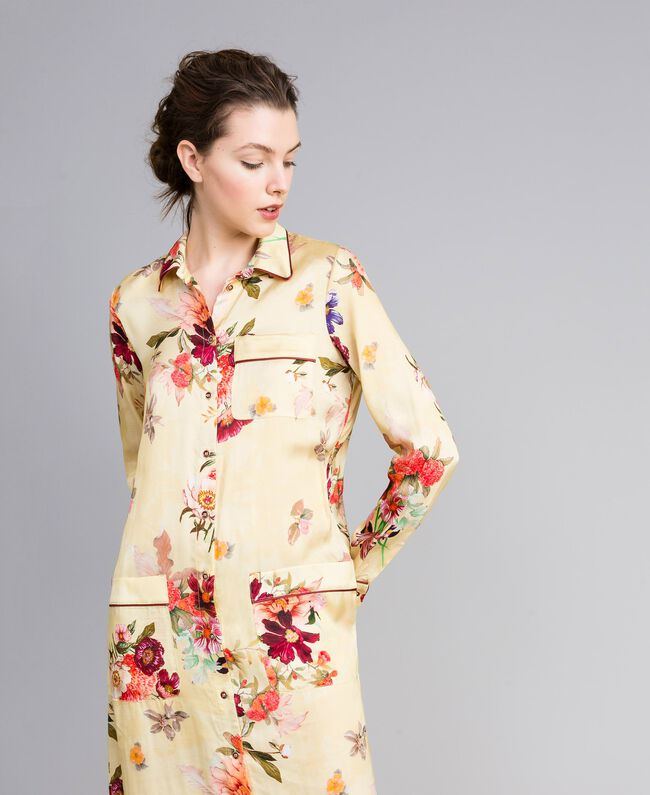 "Long floral print satin shirt dress ""Tea Garden"" Pink Print Woman PA829S-04"
