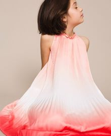 "Fadeout pleated satin dress ""Calypso Coral"" Red Multicolour Print Child 201GJ2200-04"