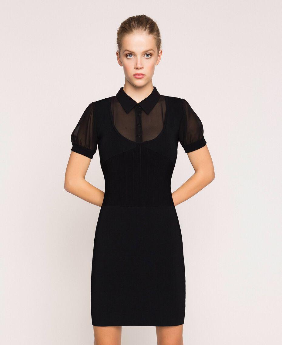 Robe fourreau en maille stretch Noir Femme 201MP3032-01