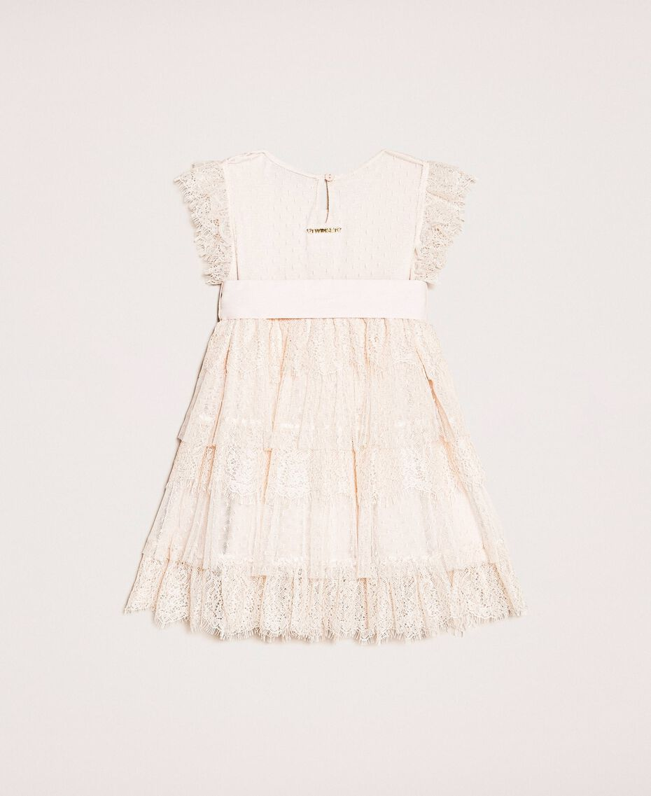 Tulle and lace flounce dress Bud Pink Child 201GB2Q8A-0S