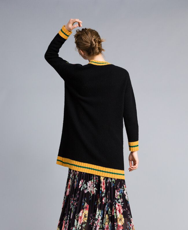 Maxicardigan aus Wollmischung Schwarz Frau PA83HN-03