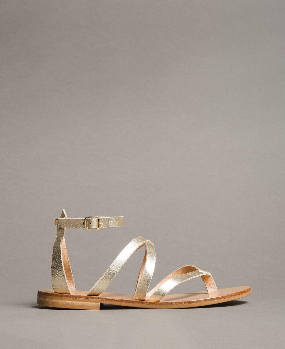 Sandales en cuir laminé avec lanières Platine Femme 191TCT09W-02