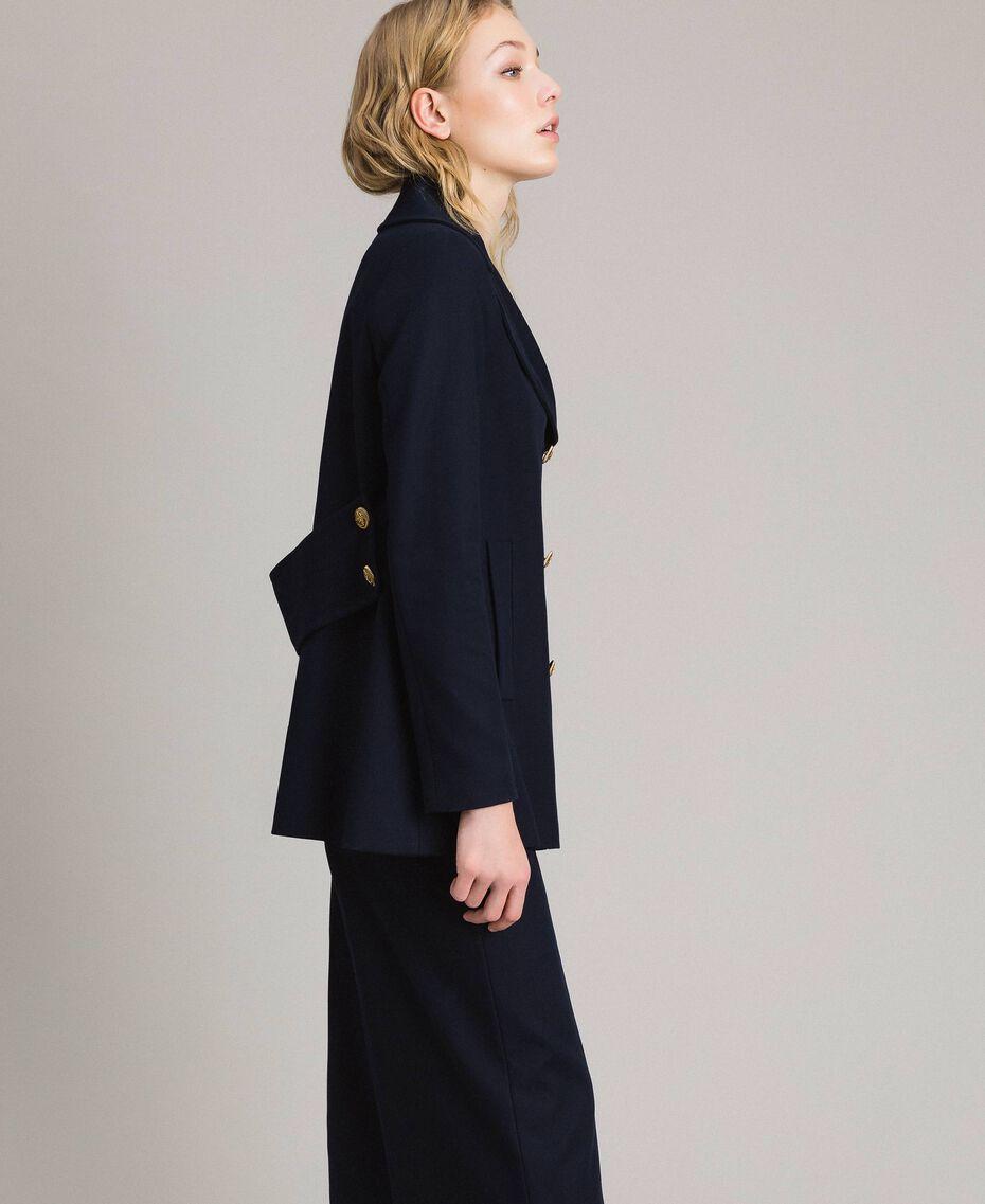 Caban en laine à double boutonnage Bleu Foncé Femme 191TP2510-02