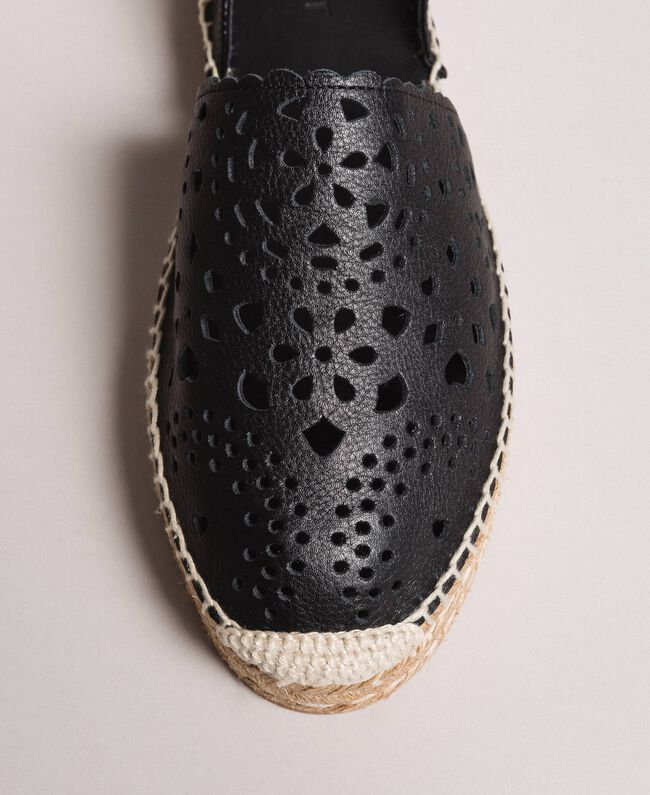 Suede espadrilles with laser embroidery Black Woman 191TCP062-04