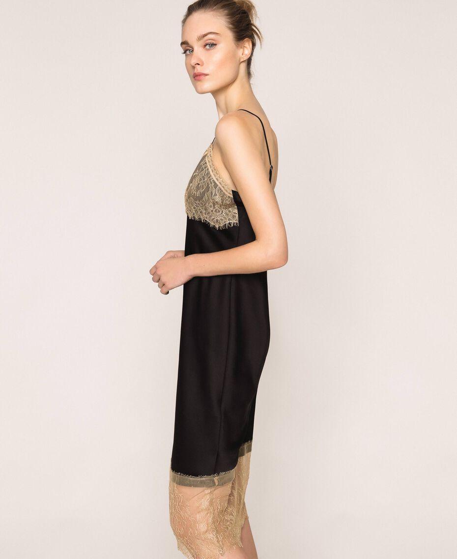 "Satin slip dress with lace Two-tone Black / ""Hemp"" Beige Woman 201MP2131-02"