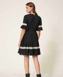 Pleated dress with lace Black Woman 202TP2130-04