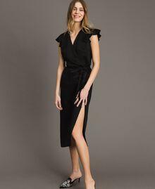 Robe longue en lin envers satin Noir Femme 191TT2303-01