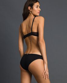 Tulle briefs with embroidery Black Woman 192LI6666-03