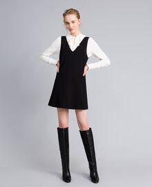Ärmelloses Kleid mit Bluse aus Seidenmischung Zweifarbig Schwarz / Schneeweiß Frau PA8211-01