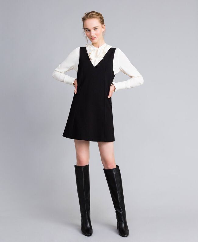 """Abito smanicato con camicia in misto seta Bicolor Nero / Bianco """"Neve"""" Donna PA8211-01"""