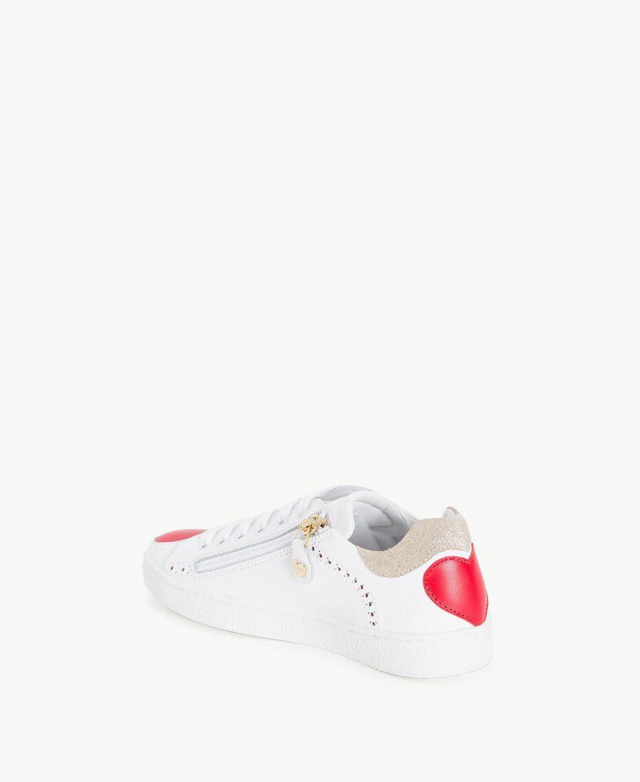 Baskets cœurs Bicolore Blanc Papyrus / Rouge Grenadier Enfant HS88C1-03