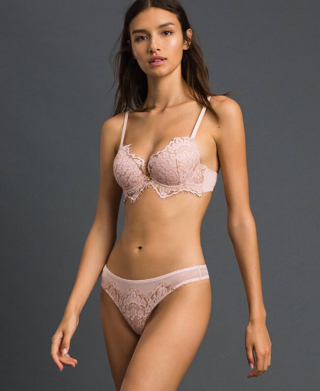 Tulle and lace G-string Pale Rose Woman 192LI6188-01
