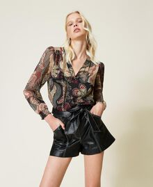 High-Waist-Shorts mit Gürtel Schwarz Frau 212TP2510-02