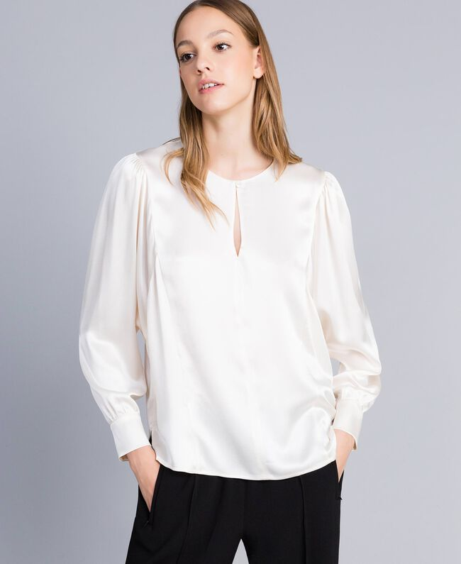Blusa in satin di misto seta Bianco Neve Donna TA82YA-01