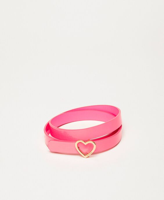 Faux leather belt with heart shaped buckle