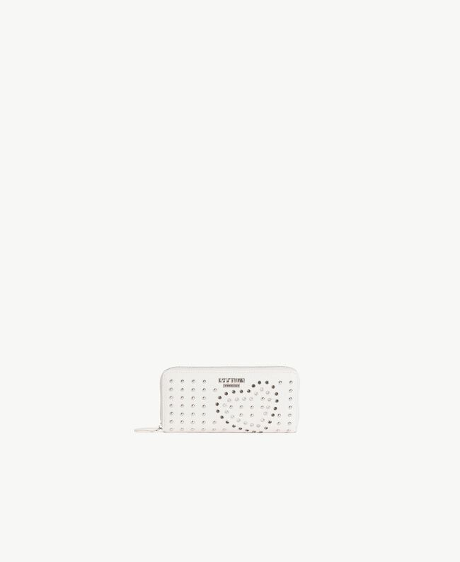 Studded wallet Cream Heart White Embroidery Woman RS8TFS-01