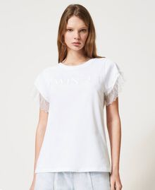 T-shirt with logo and lace sleeves White Woman 211TT2231-05