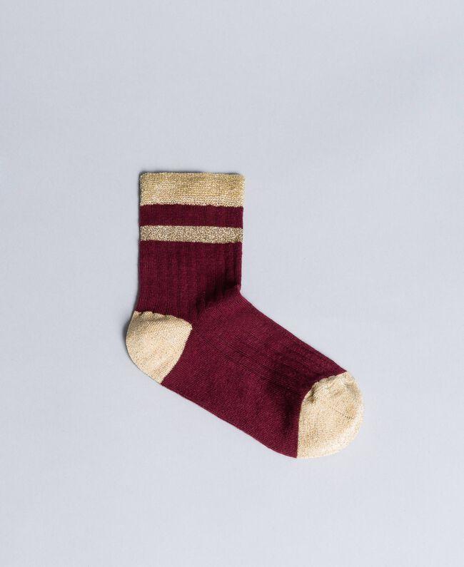 Chaussettes côtelées avec lurex Bordeaux Femme AA8P6A-01