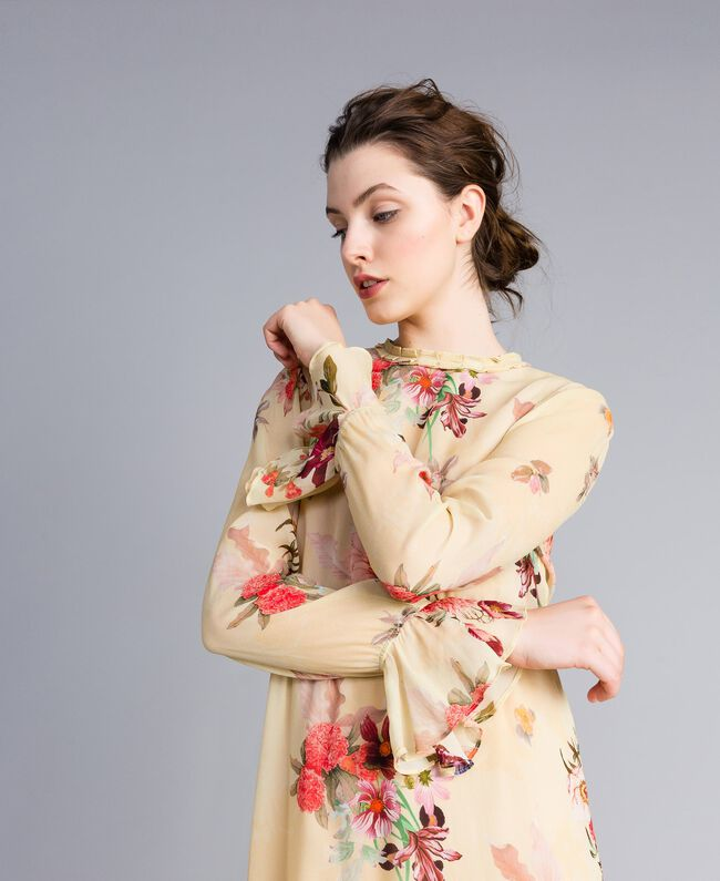Mini-robe en crêpe georgette floral Imprimé Rose «Tea Garden» Femme PA8271-04
