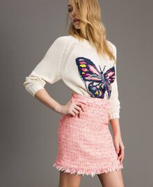 "Minirock aus Tweed mit Fransen Multicolour ""Wild Rose"" Pink Bouclé Frau 191TP2527-02"