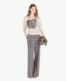 Pantalon palazzo carreaux Jacquard Vichy Femme PS827Q-05