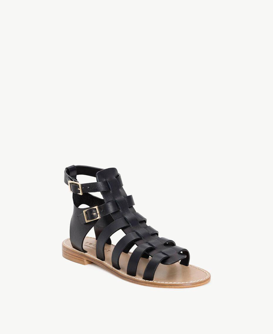 TWINSET Sandale aus Leder Schwarz Frau CS8TEE-02