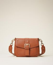 Round Rebel shoulder bag Leather Brown Woman 202TD8172-01