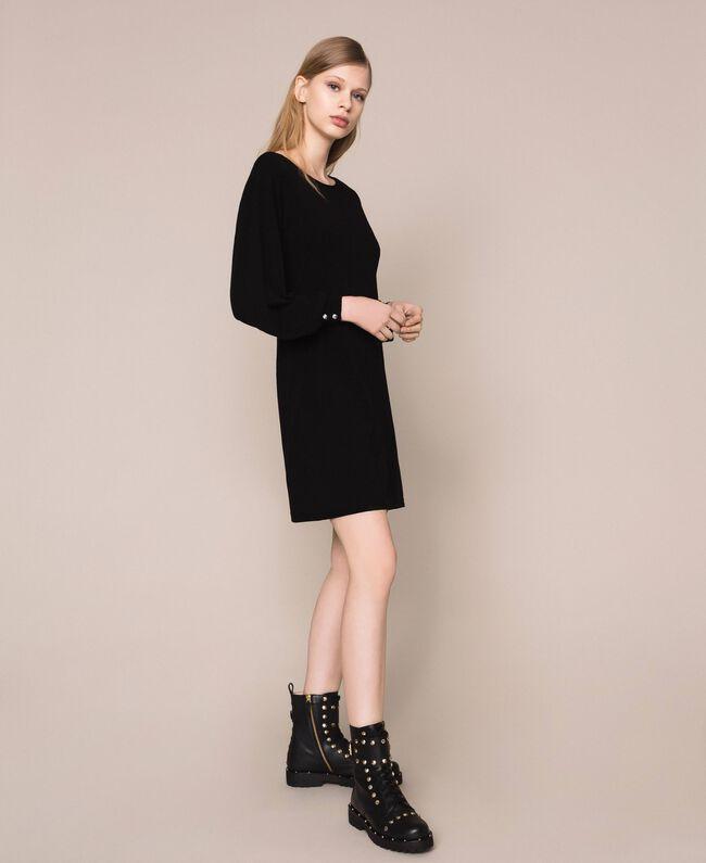 Платье с пуговицами-стразами Черный женщина 201TP3101-04