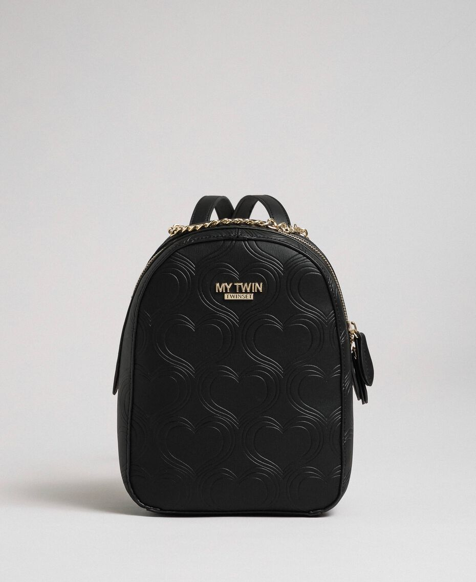 Heart print faux leather backpack Black Woman 192MA7012-03