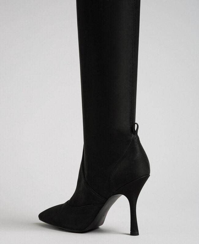 le dernier b2edc 97490 Bottes cuissardes avec talon stiletto Femme, Noir   TWINSET ...