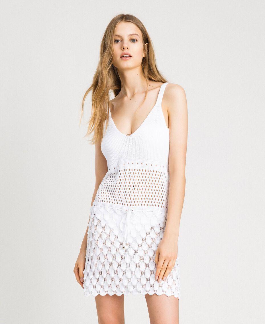 Baumwollkleid mit offenem Muster Weiß Frau 191LB3GCC-02