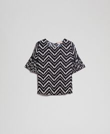 "Floral and chevron print blouse Black / ""Snow"" Chevron Print Woman 192TP252A-0S"
