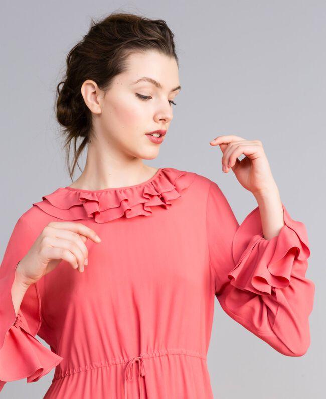 Kurzes Kleid aus Seidenmischung Royal Pink Rosa Frau PA827A-04