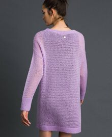 "Short wool and mohair dress with brooch ""Wisteria"" Pink / Purple Woman 192ST3090-03"
