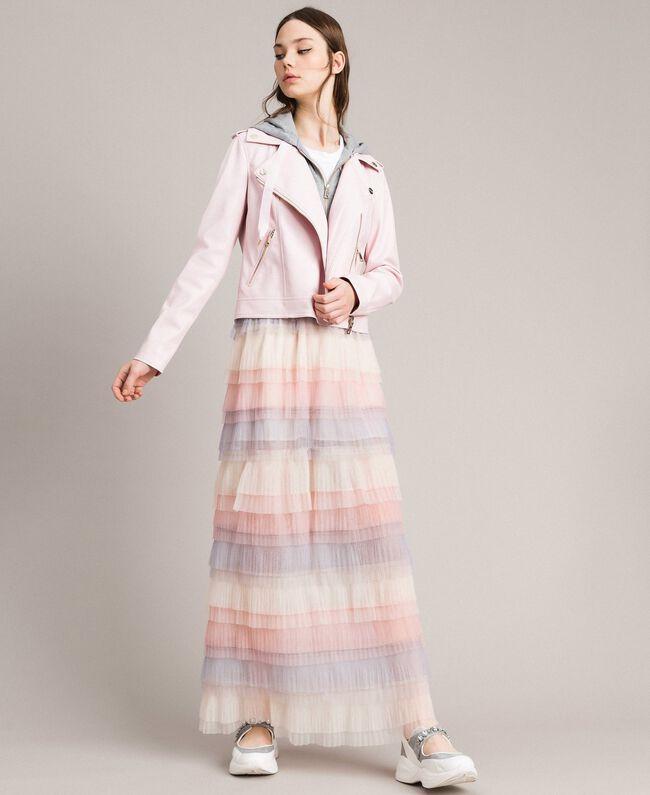 Long jupe plissée à volants Multicolore Tulle Femme 191MP2232-02