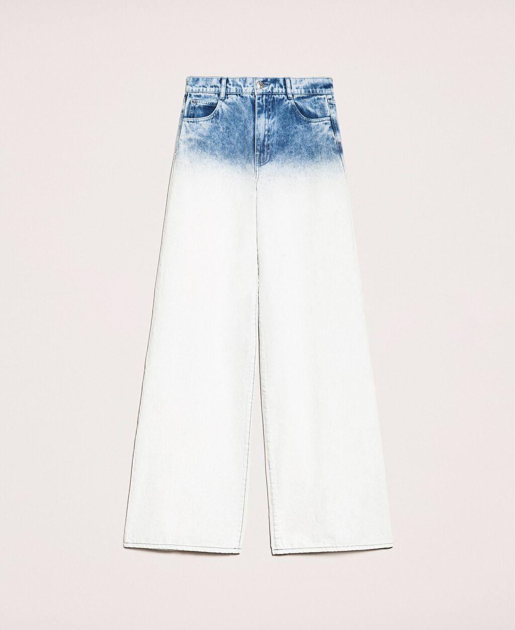 Faded wide leg jeans