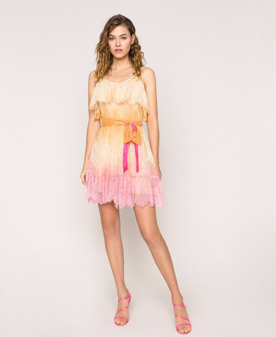 Tie-dye lace dress