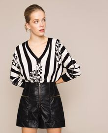 Faux leather shorts with zip Black Woman 201TP241B-02