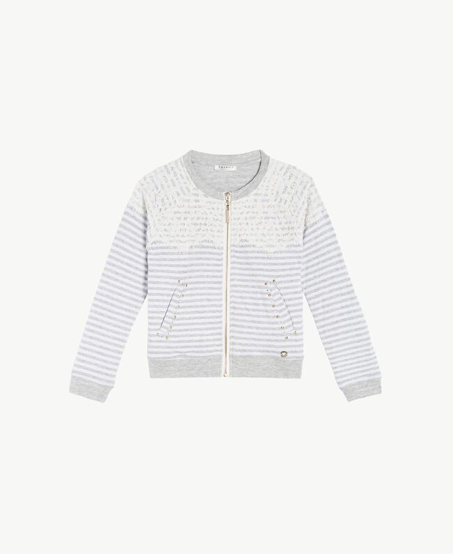"Lace sweatshirt ""Papyrus"" White / Melange Grey / Chantilly Child GS82UB-01"