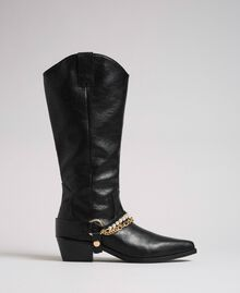 Texas boots with straps, chain and pearls Black Woman 192MCP014-02