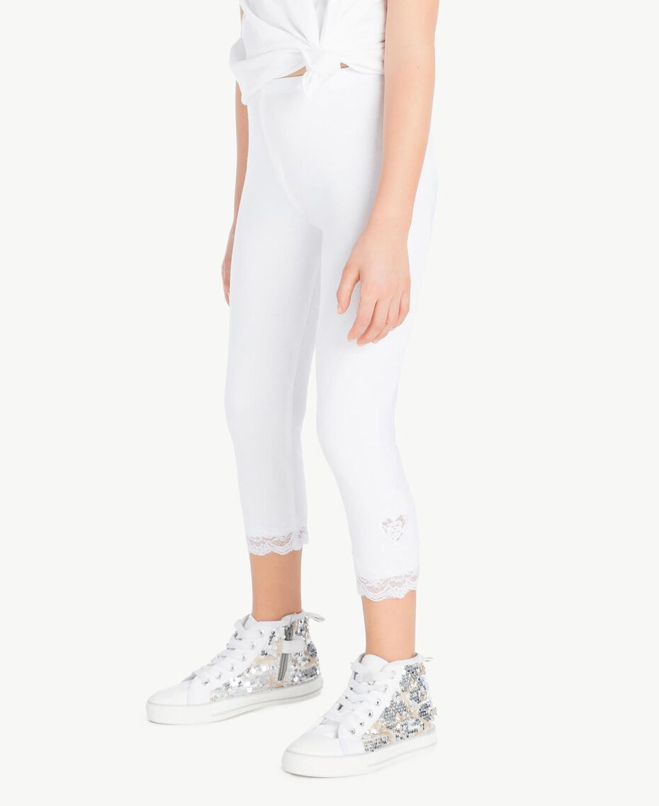 "Leggings jersey Bianco ""Papers"" Bambina GS82BB-03"