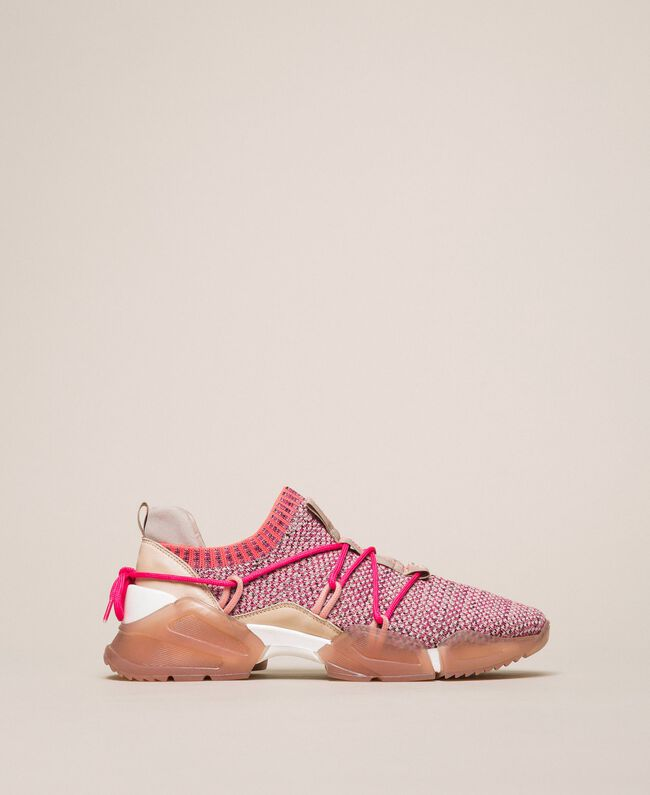 Fabric running shoes with fluorescent finishes Two-tone Pink / Fluo Fuchsia Woman 201TCP154-01