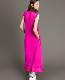 "Ruched georgette long dress ""Electric Pink"" Fuchsia Woman 191TP2323-03"