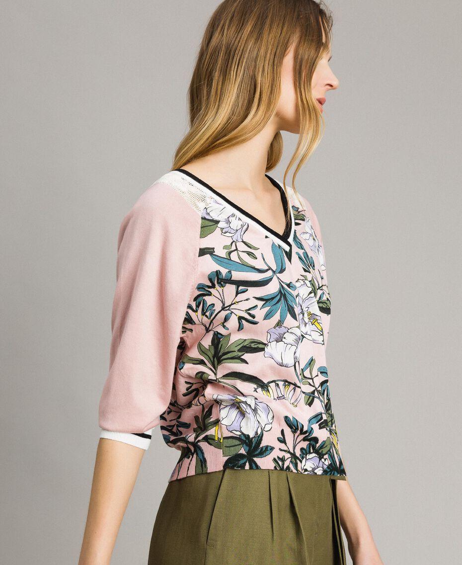 """Lurex-Pullover mit Blumenmuster Motiv Exotisch """"Soft Pink"""" Frau 191ST3122-02"""