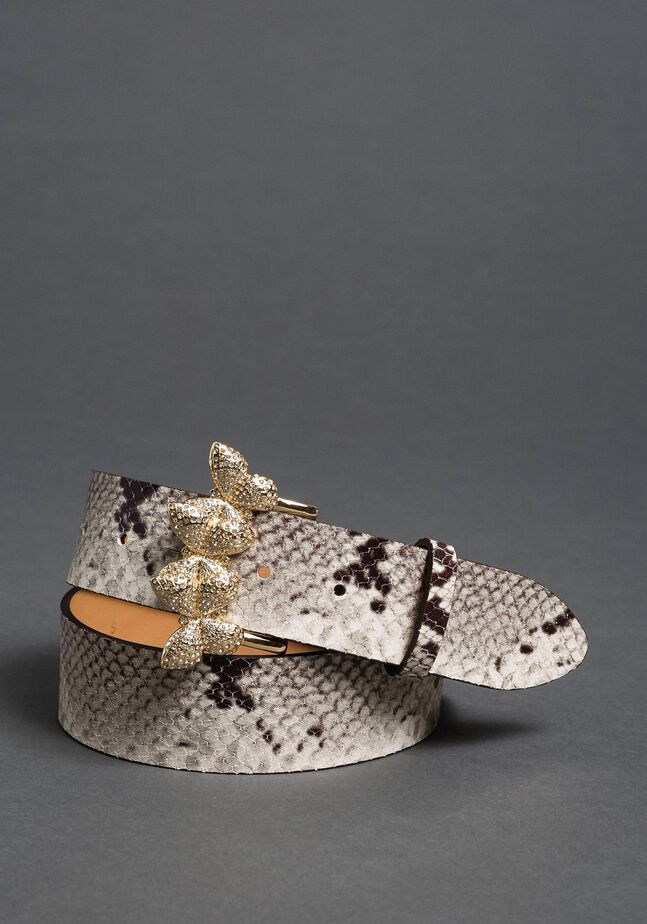 Leather belt with rhinestone buckle
