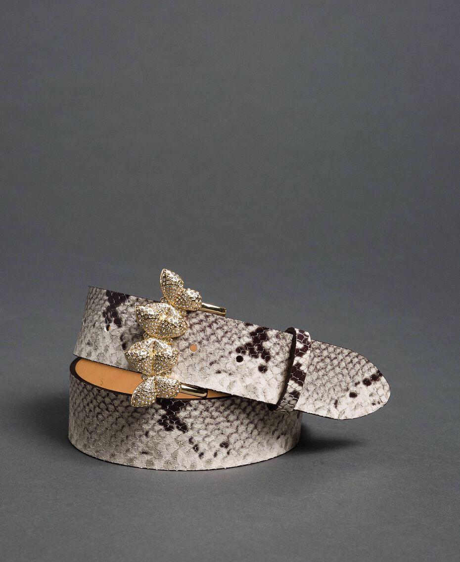 Ceinture en cuir avec boucle en strass Imprimé Python Roche Femme 192TO5343-01
